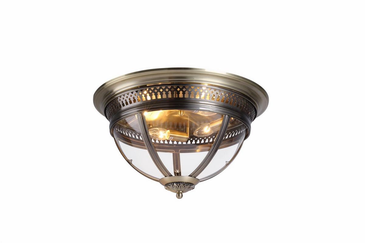Потолочный светильник со стеклом, бронза