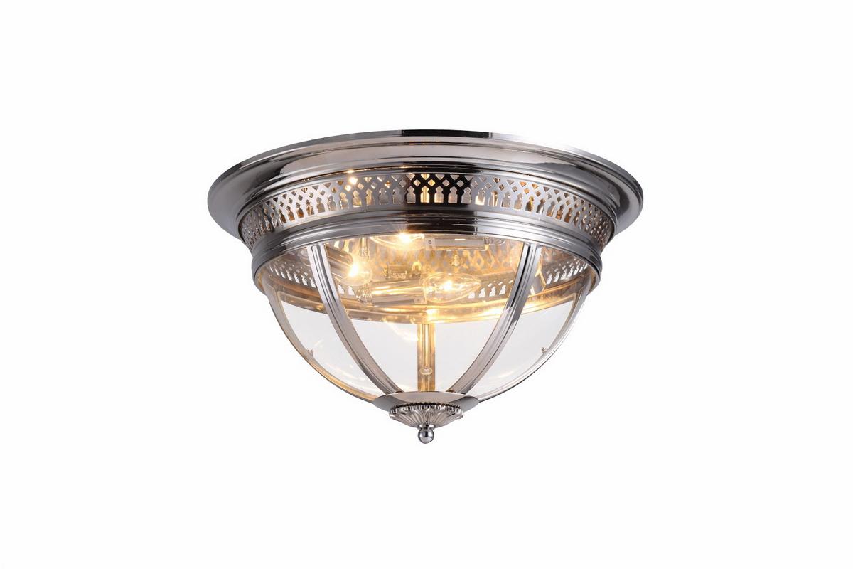Потолочный светильник со стеклом, никель