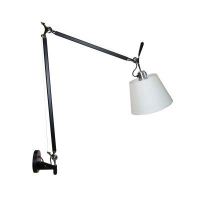 Настенный светильник-бра Tolomeo Parete basculante 24cm white/black matte falmec quasar top parete 90 ix 800